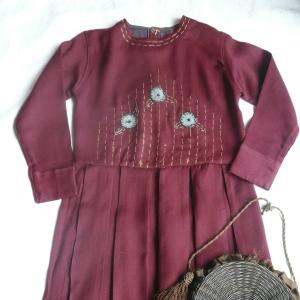 30~40's bordeaux-colored one-piece dress