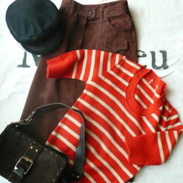 70's brown cord skirt