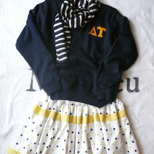 70's v-neck sweater & 50's polka dot skirt