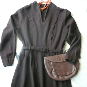 1940〜50's brown wool dress