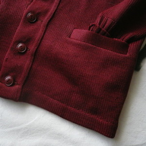 50's deep red wool cardigan