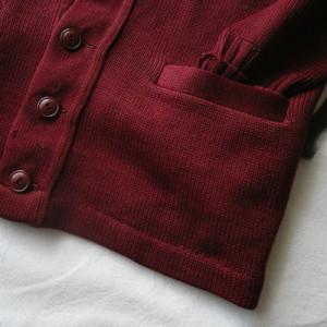 50's deep red wool cardigan