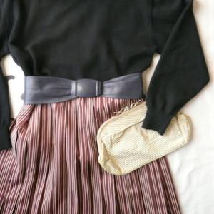 70's stripe pleated skirt