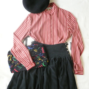 80's stripe blouse & black silk skirt