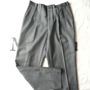 80〜90's Grey Herringbone Wool Trousers