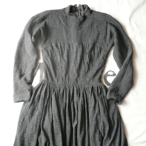 50's charcoal gray wool one-piece dress