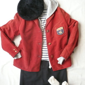 50's red velvet school JKT