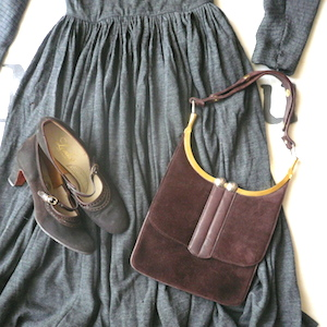60's brown suede handbag
