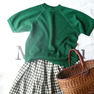 80's moss green block check skirt
