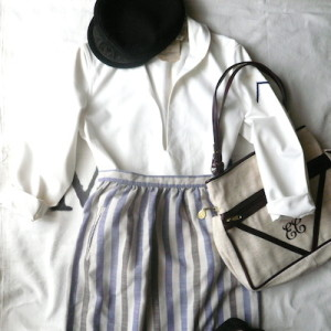 80's sailor tops & stripe skirt
