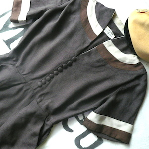 50's Brown One-piece dress