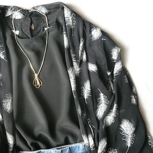 80's black sheer kimono tops