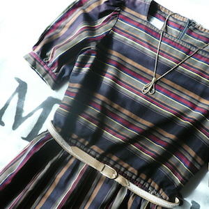 late 70's horizontal striped dress