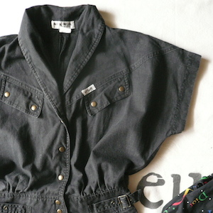 80's Black denim one-piece dress
