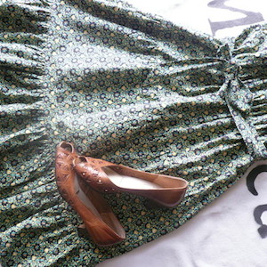 70's flower printed green cotton dress