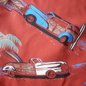 80's classic car printed rayon mini dress