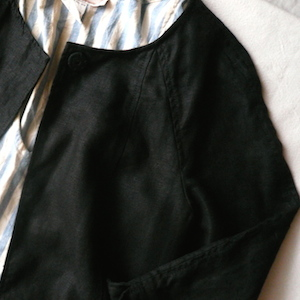 used irish black linen coat