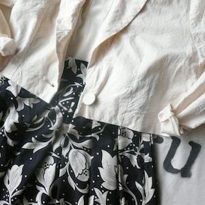 80's white cotton short JKT & rayon skirt