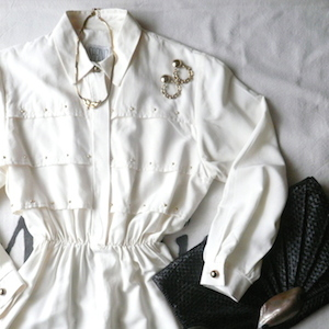 80's gold studded white dress
