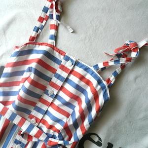 70's tricolor stripe sun dress