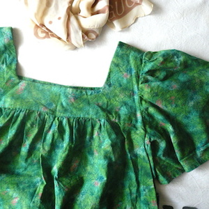 60's square neck cotton dress