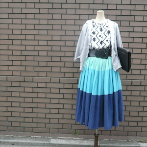 80's monotone tops & 60's skirt