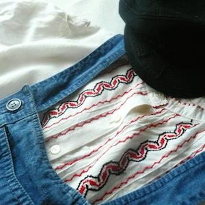 70's  denim salopette skirt & eastern europe embroidery blouse