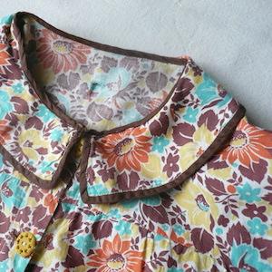40's flower pattern cotton smock