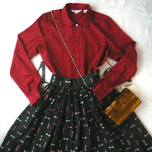 50's cotton skirt & 90's stripe shirt