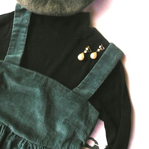 80's dark green corduroy jumper dress