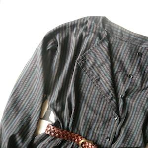 late 70's malti stripe black cotton dress