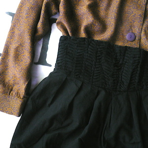 80's rayon blouse & black high waist pants