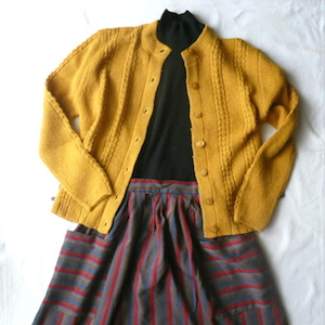 60's mustard yellow knit cardigan