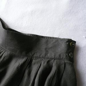 80's black rayon shirt & stripe wide pants