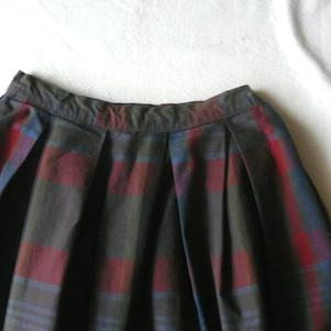 50's plaid skirt & green knit cardigan