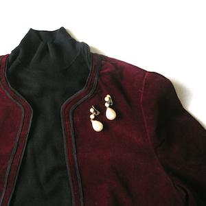 70's Velour JKT & pleated skirt