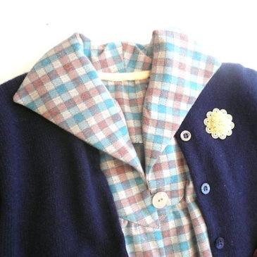 70's plaid wool one-piece dress & 60's cardigan