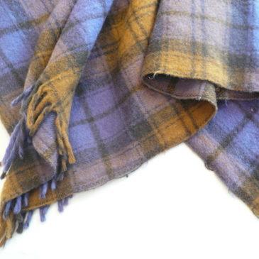 70's wool poncho & 60's mustard yellou skirt