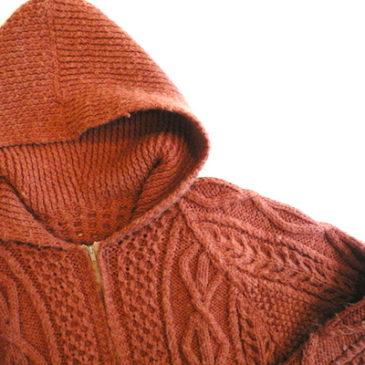 70's terracotta orenge knit hoodie