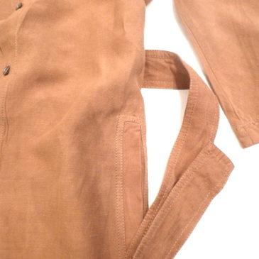 90's〜 cotton linen no-coller coat