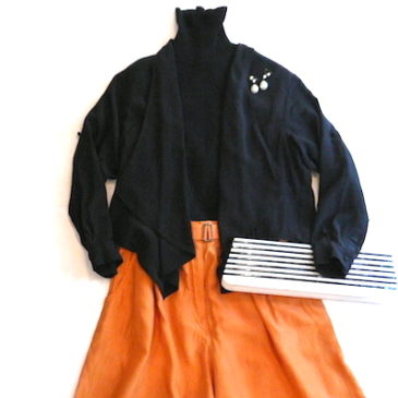 80〜90's orange silk wide pants & Black jacket