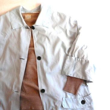 50's pale blue cotton smock coat