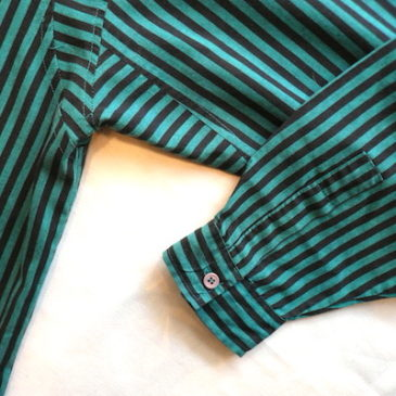 80's stripe shirt & pleated skirt