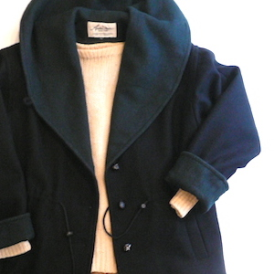 80's hooded wool coat