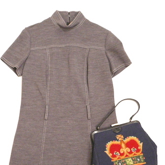 60's gray one piece dress