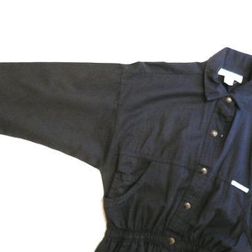 80's Black cotton one-piece dress