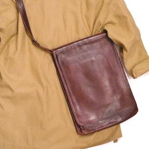 Used leather messenger bag