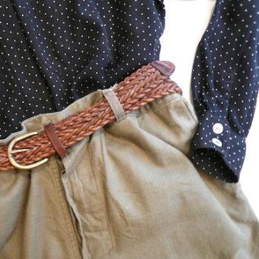 80's pin dot shirt & military trousers