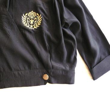 80's emblem black rayon JKT