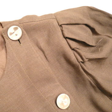 80's sand beige  metal button dress